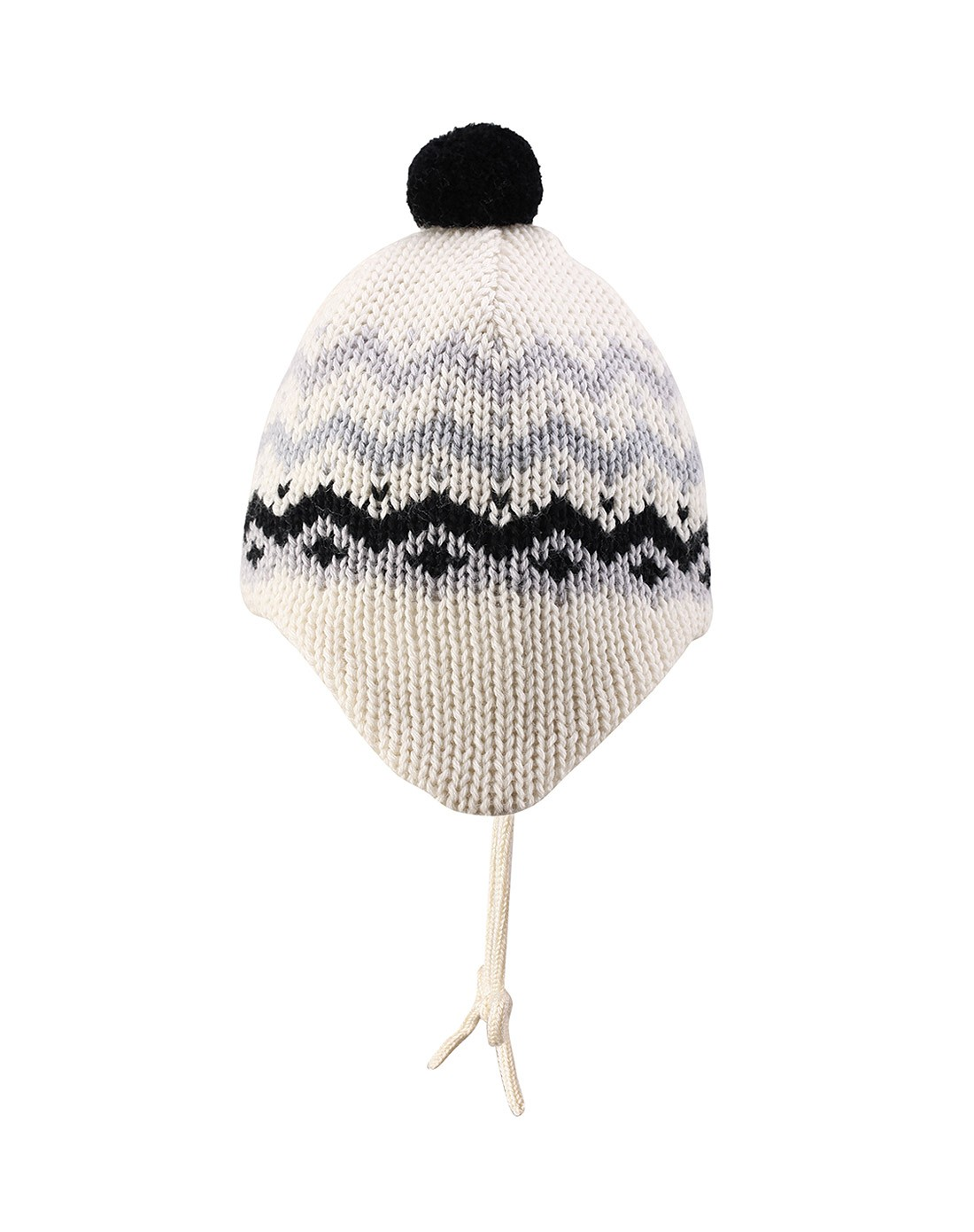 > 中性童灰配白色针织帽 保暖时尚