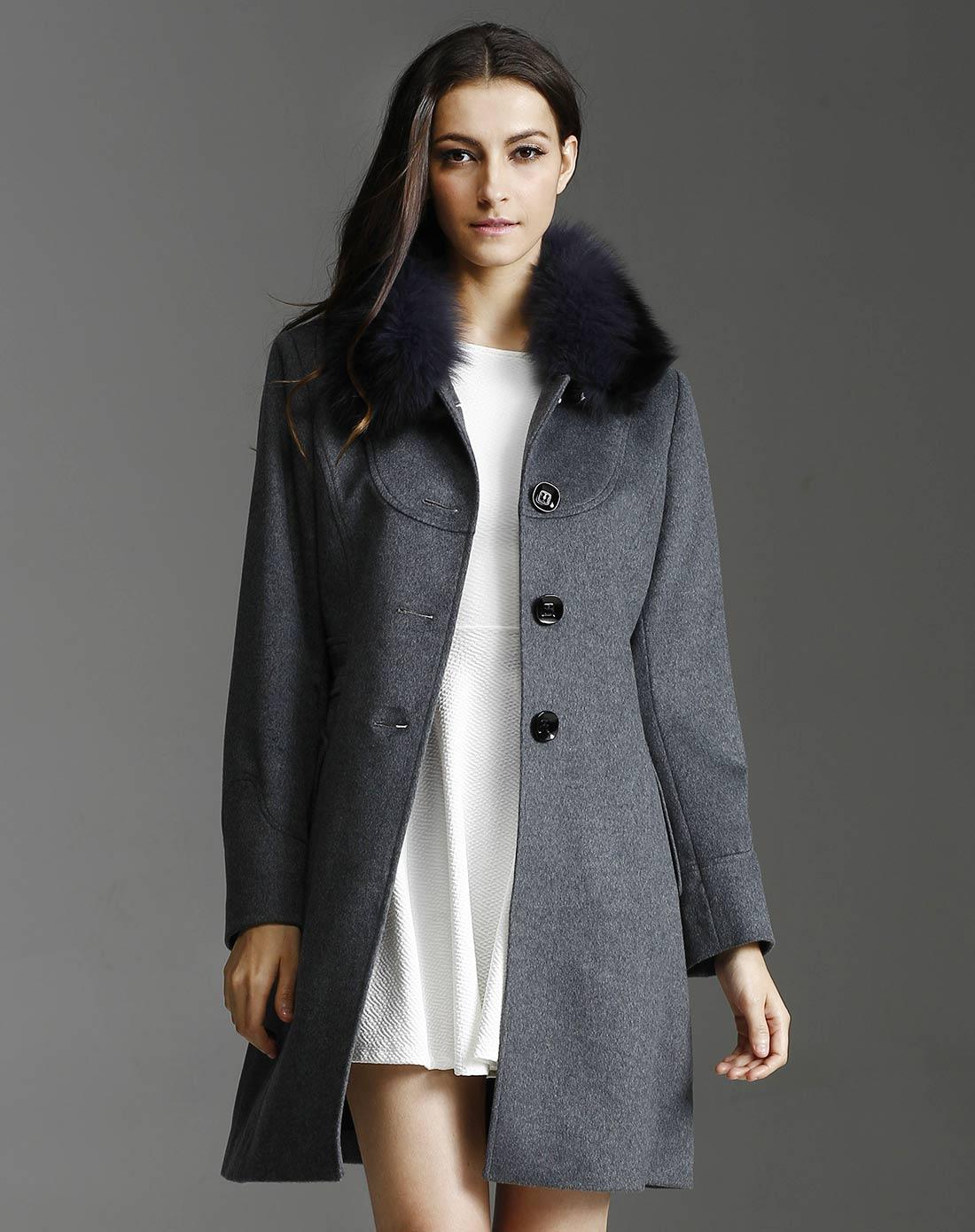 女款烟灰色羊绒大衣