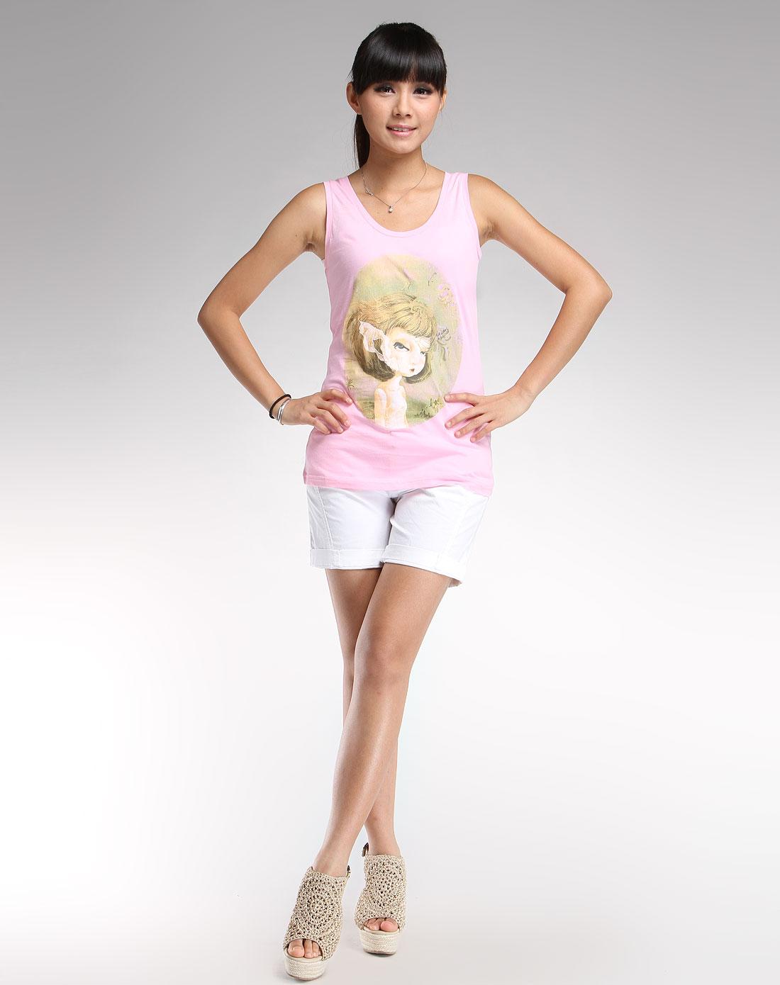 粉红色女孩头像印花时尚背心