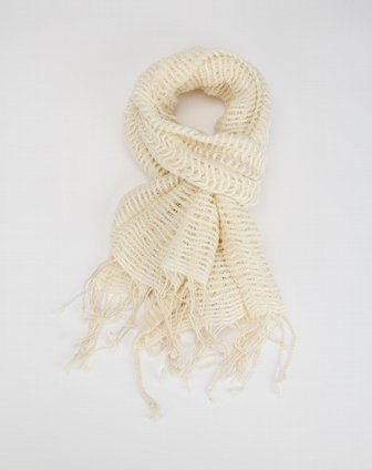白色粗细线编织围巾