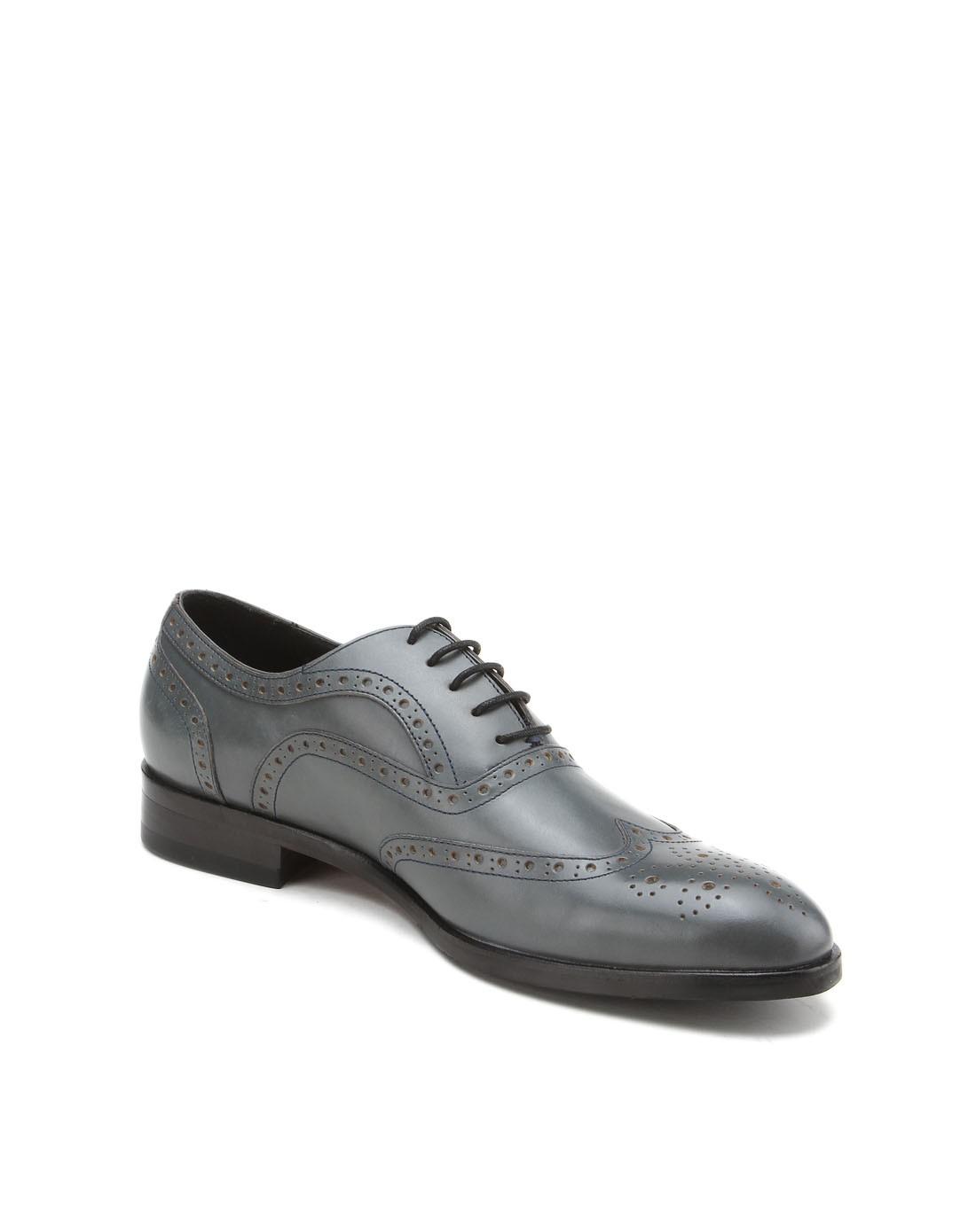 蓝灰色牛皮时尚布洛克皮鞋