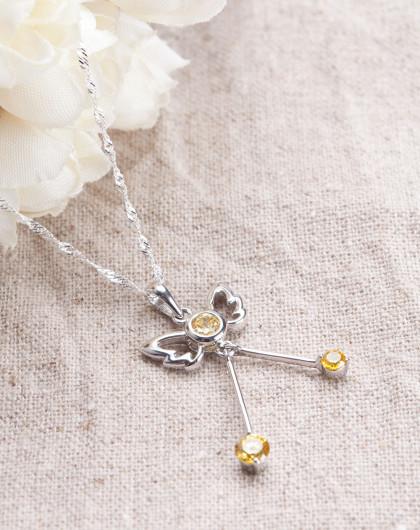 银白色925银锆石天使的翅膀吊坠项链