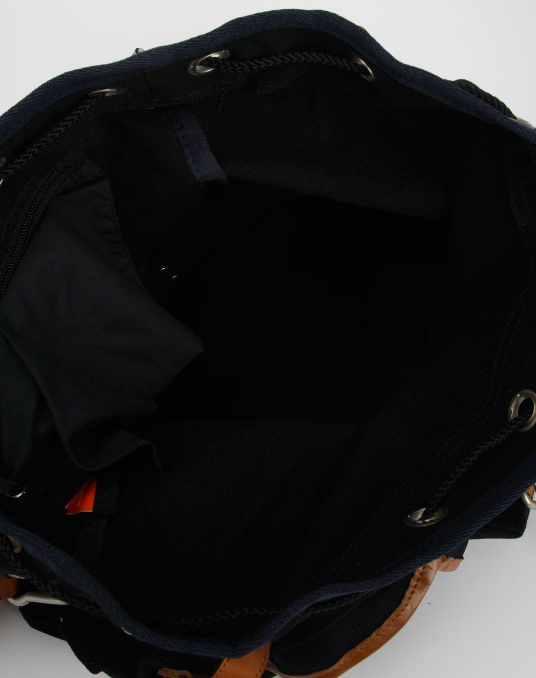 中性黑/棕色双肩背包图片