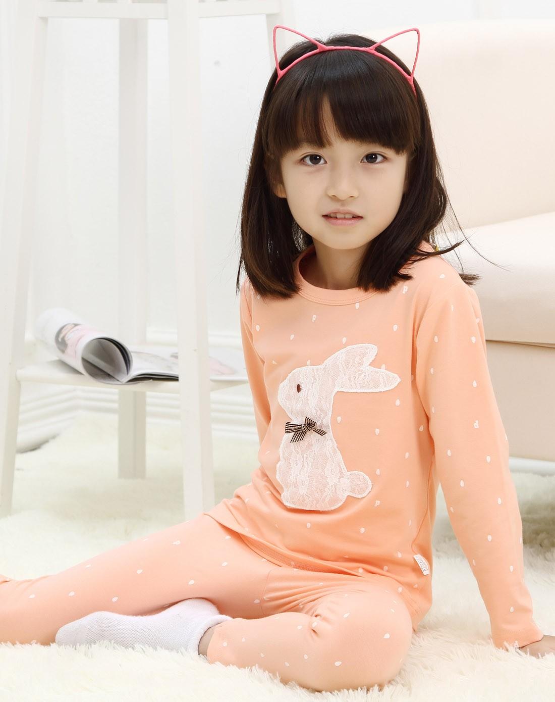 童_(亲子款)女中童蜜粉色萌系内衣套装