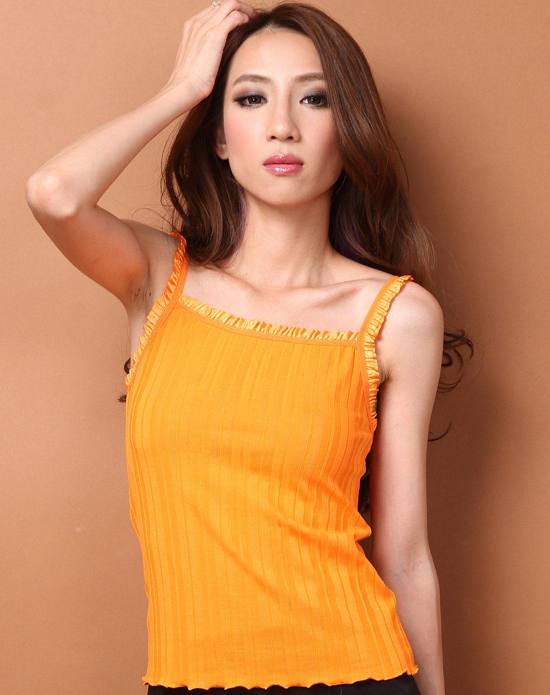 她唯eslily内衣-橙色舒适百搭性感蕾丝螺纹棉小吊带
