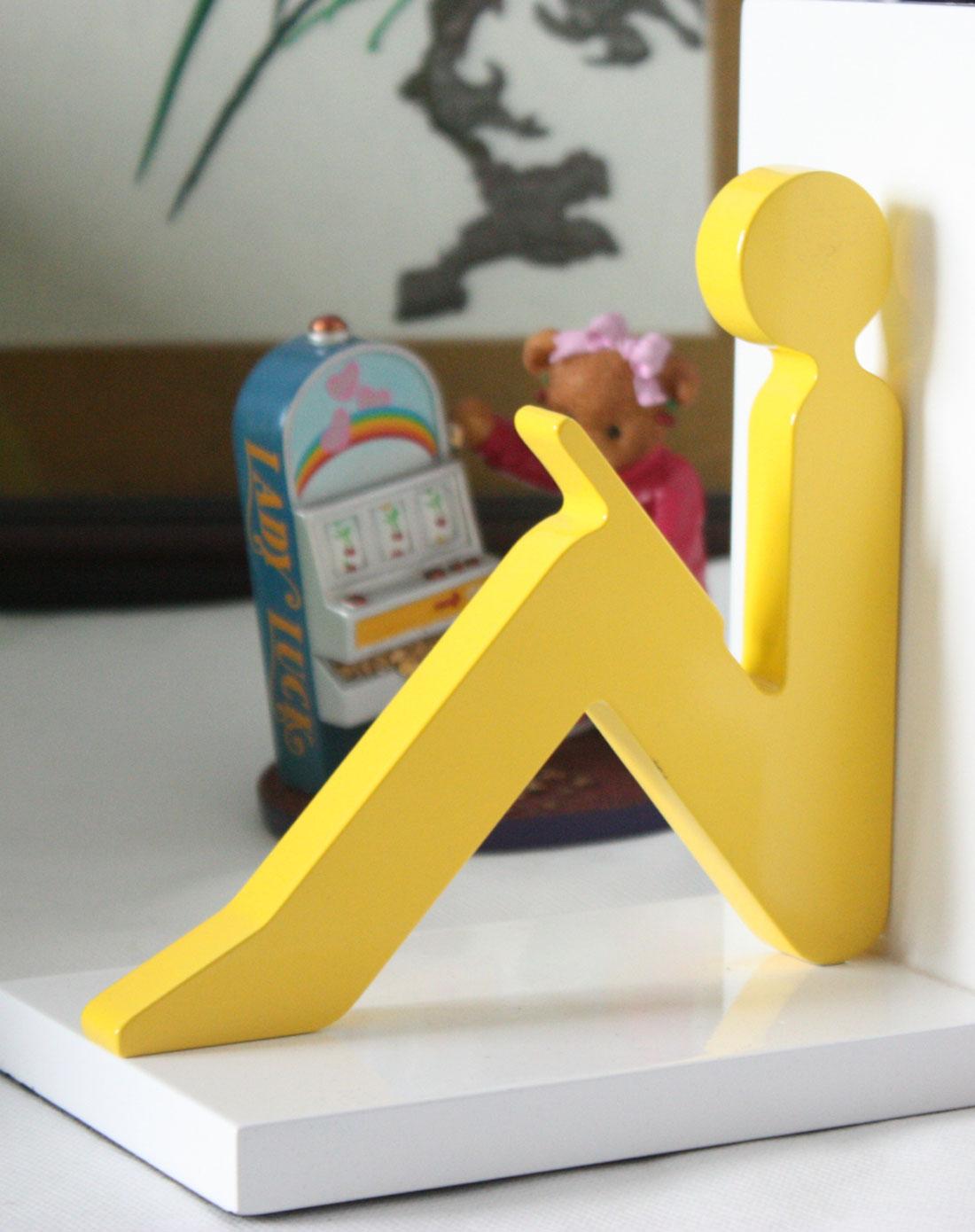 创意空间-读书人/背靠背书挡(白底红黄人)