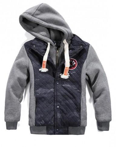 动力宝dolbo男女童装男童深灰色加绒加厚卫衣外套d95