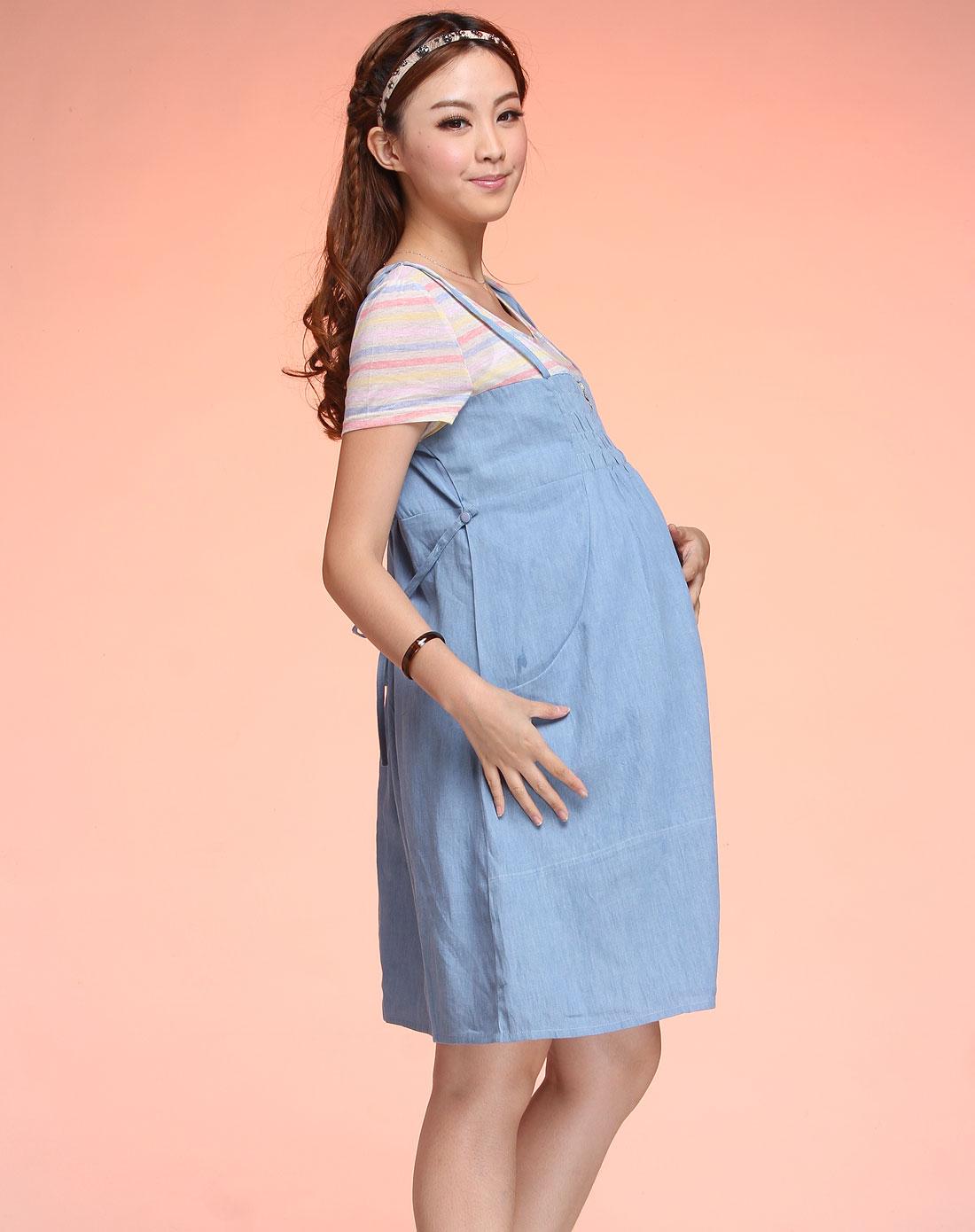 今生宝贝kissbb孕妇浅蓝色假两件孕妇短袖连身裙