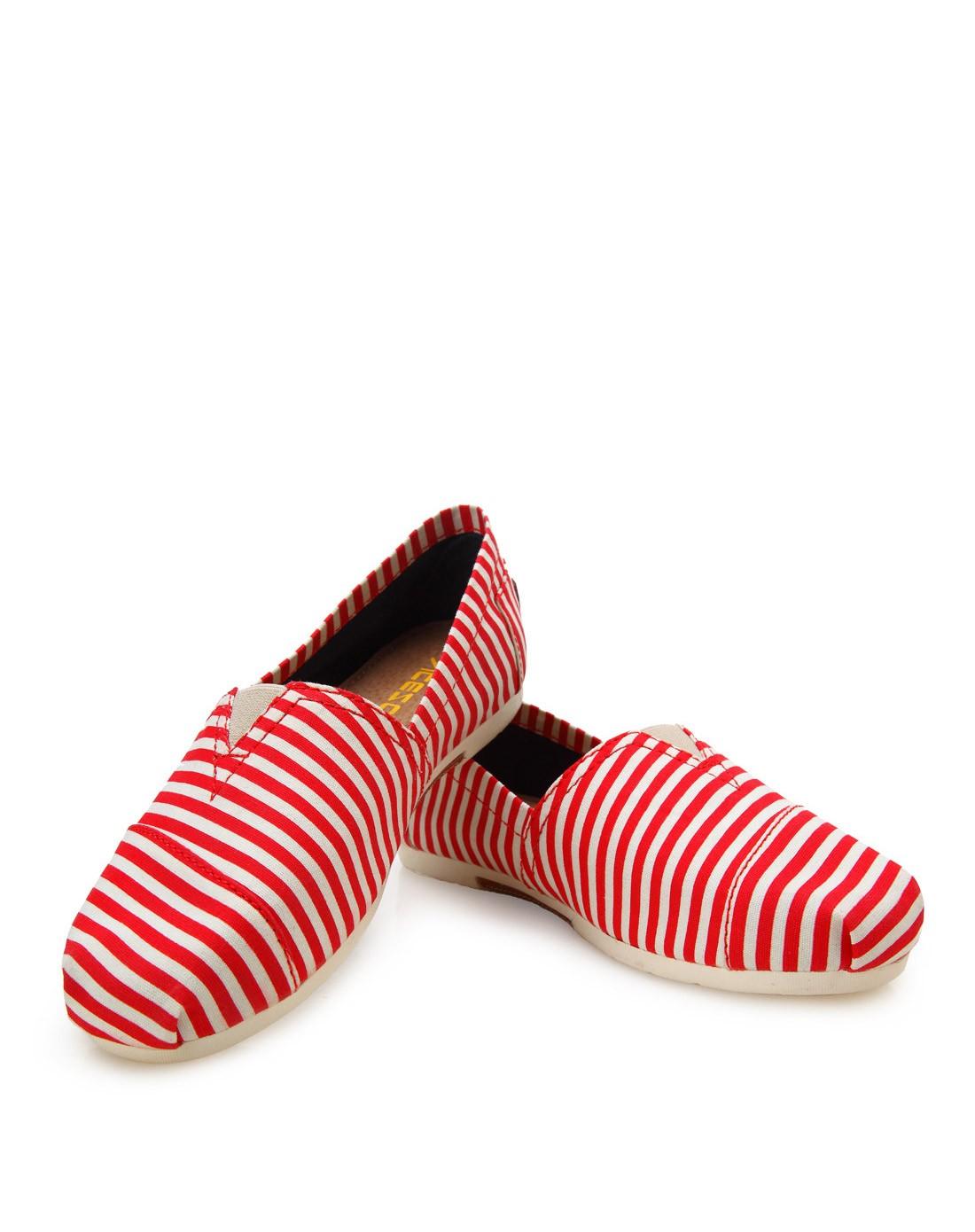 艾斯臣acesc67红白条纹帆布鞋a13cf2101hb