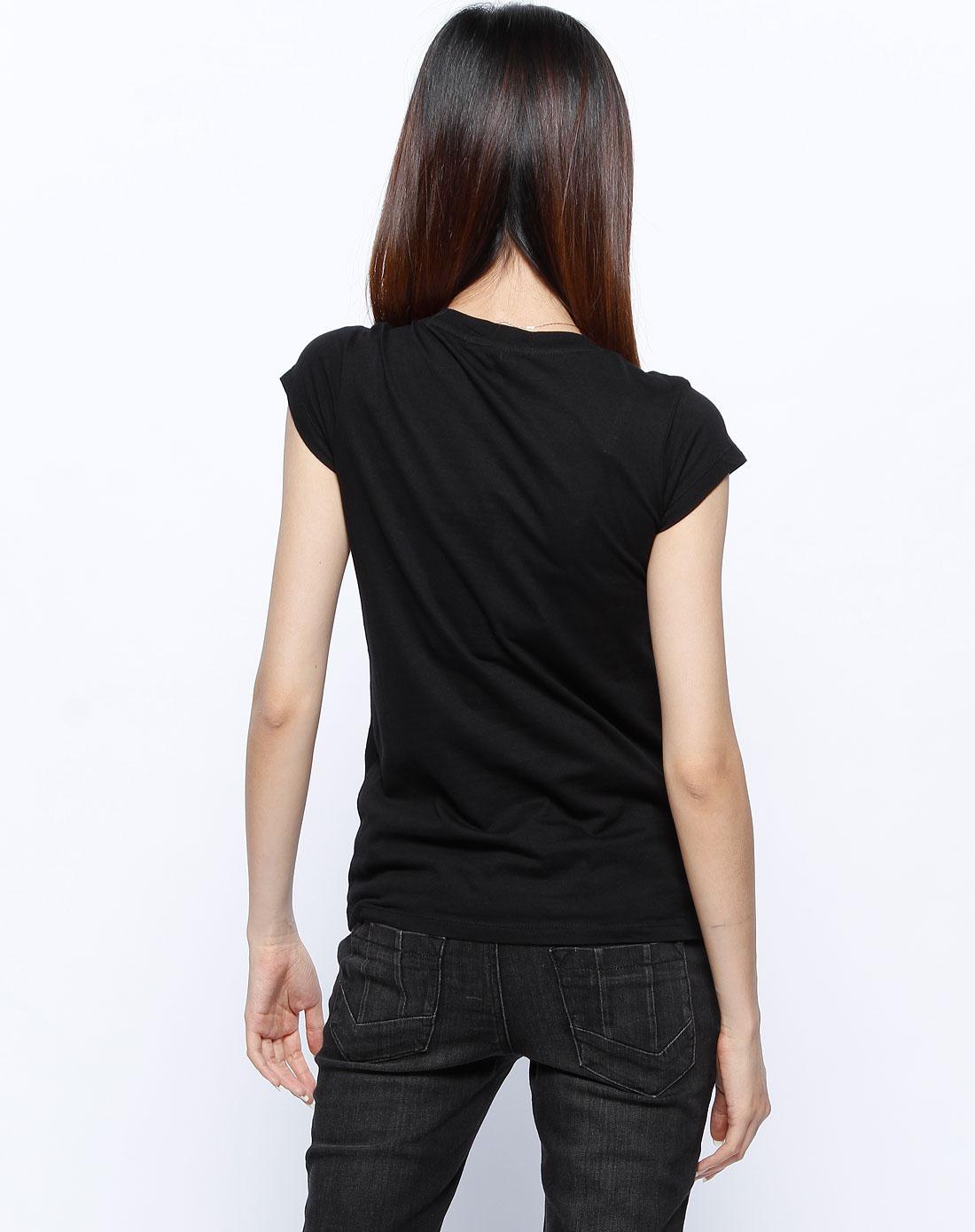 黑/白色印花短袖t恤