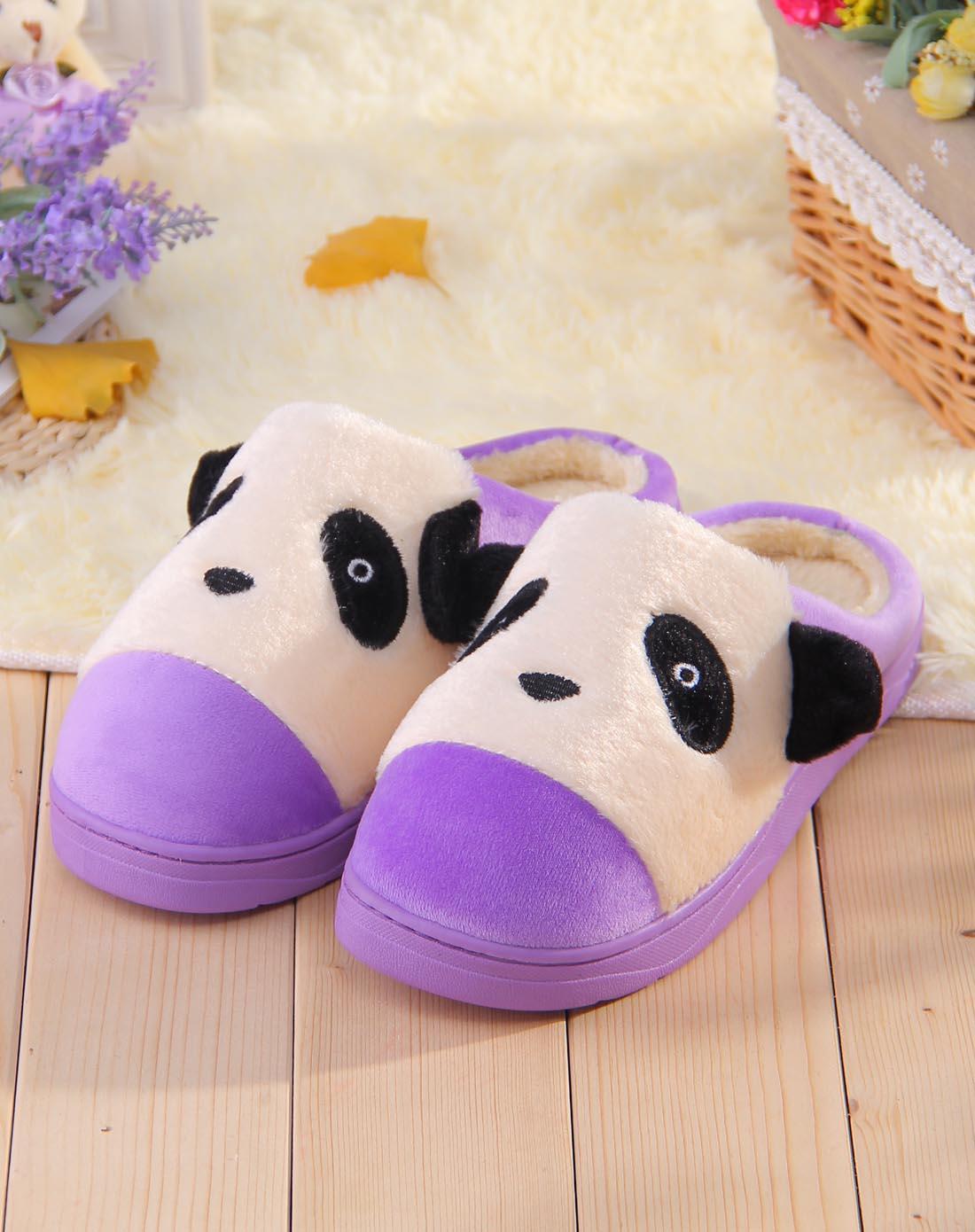 女士紫色卡通熊猫脸刺绣侧耳可爱女士包跟棉拖鞋