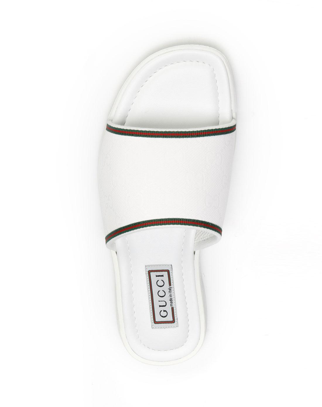 尊尚名品专场gucci 男款白色压纹休闲拖鞋236613