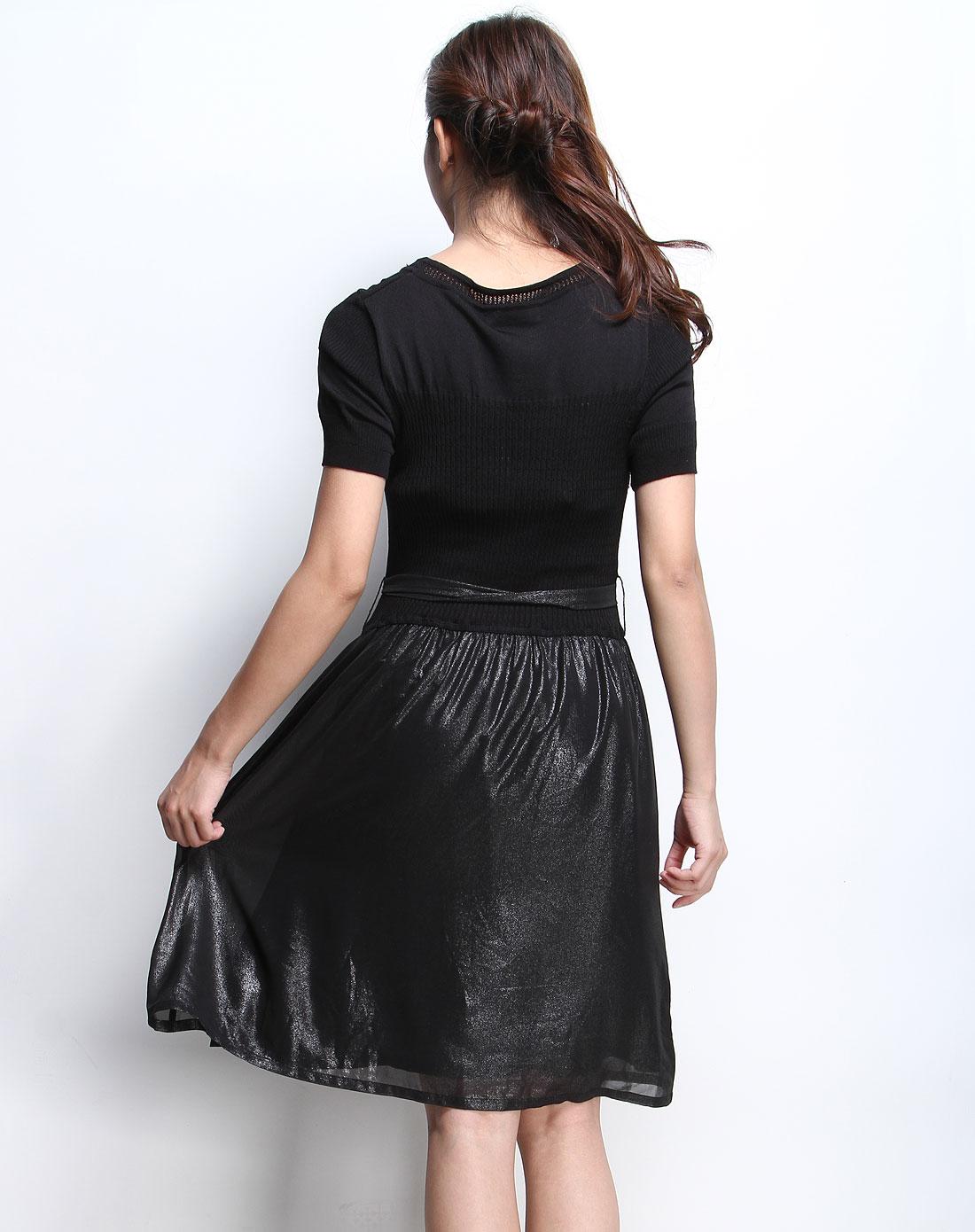 妮莹niin黑色圆领修身拼针织短袖连衣裙n032001g20