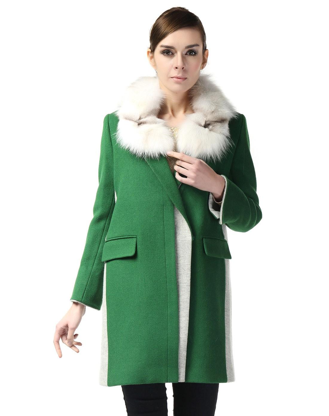 绿色欧式经典长袖大衣