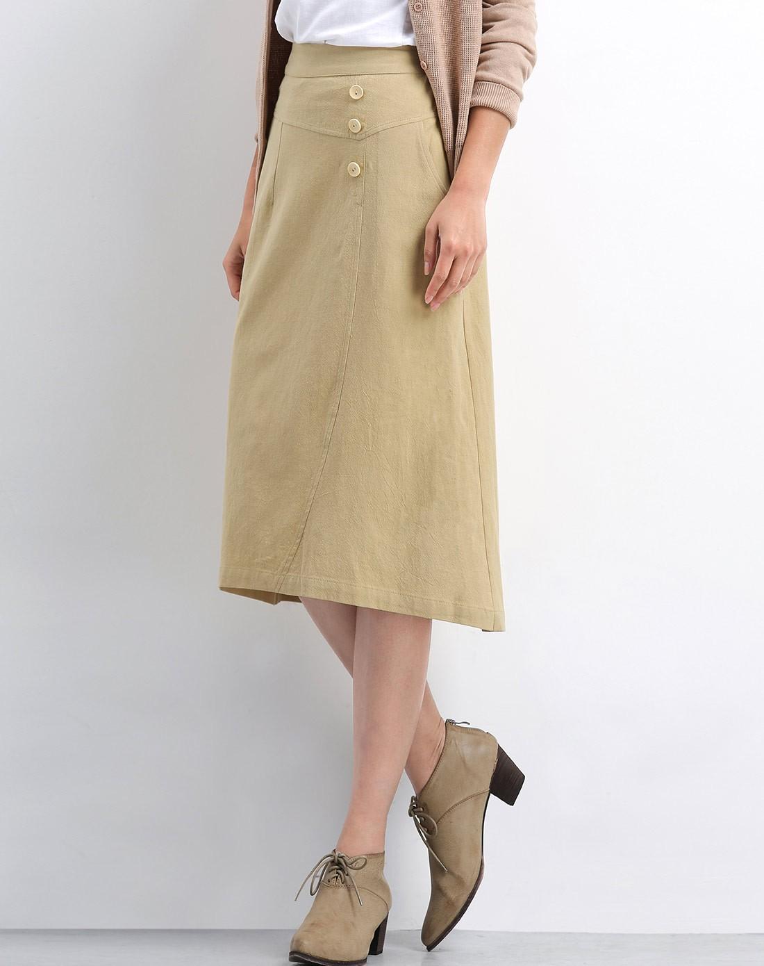 女款麦穗黄半身裙