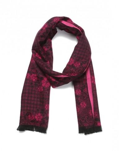 holidays紫红色个性印花围巾6421360-130