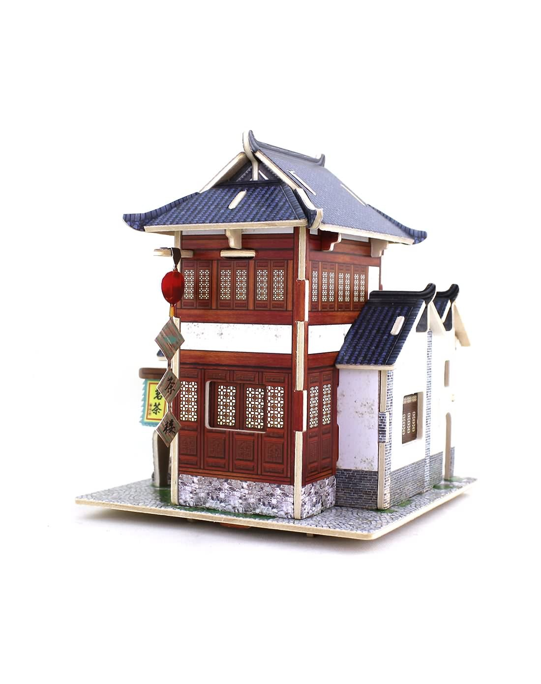 情人礼专场(中国茶楼)3d立体拼图木质模型小屋f47294