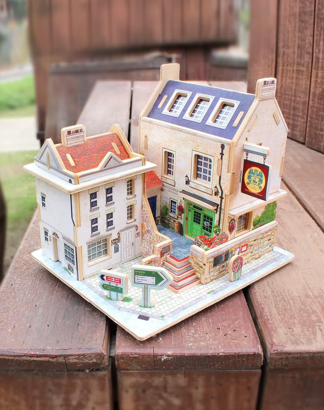趣玩创意(英国酒吧)3d立体拼图木质模型小屋f47296