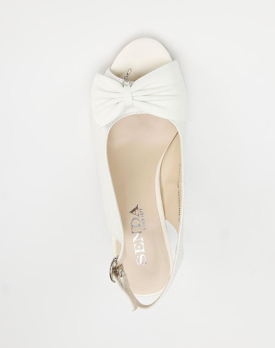 森达senda 白色个性羊皮高跟凉鞋