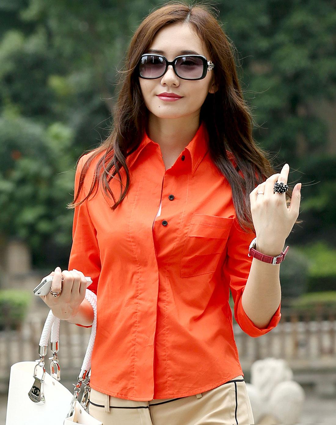 简时尚品justyle_简时尚品justyle女装专场-橘红色简约长袖衬衫