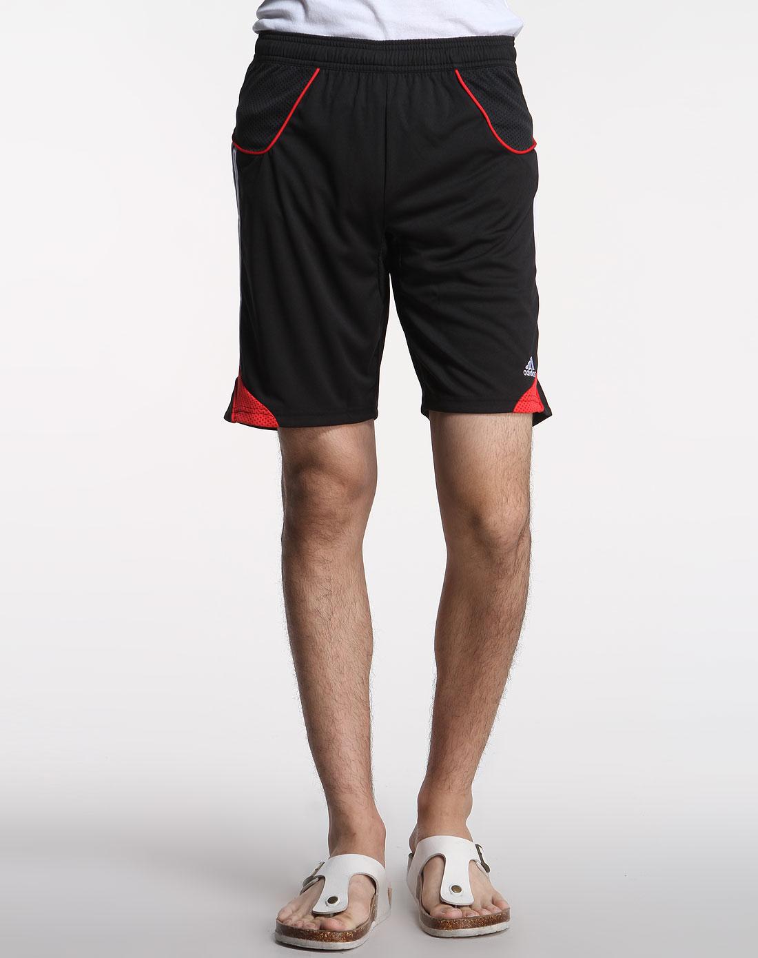 阿迪达斯adidas男装专场-男款黑红色短裤