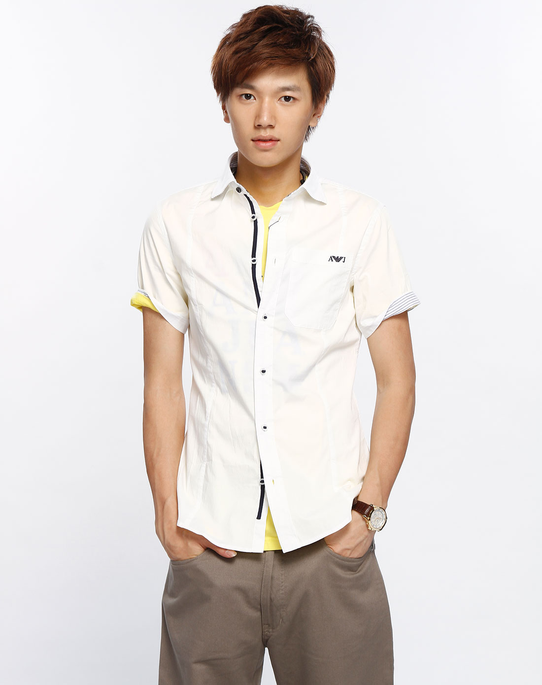 armani aj 男款白色短袖衬衫