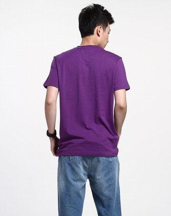 深紫色v领树根图案短袖t恤