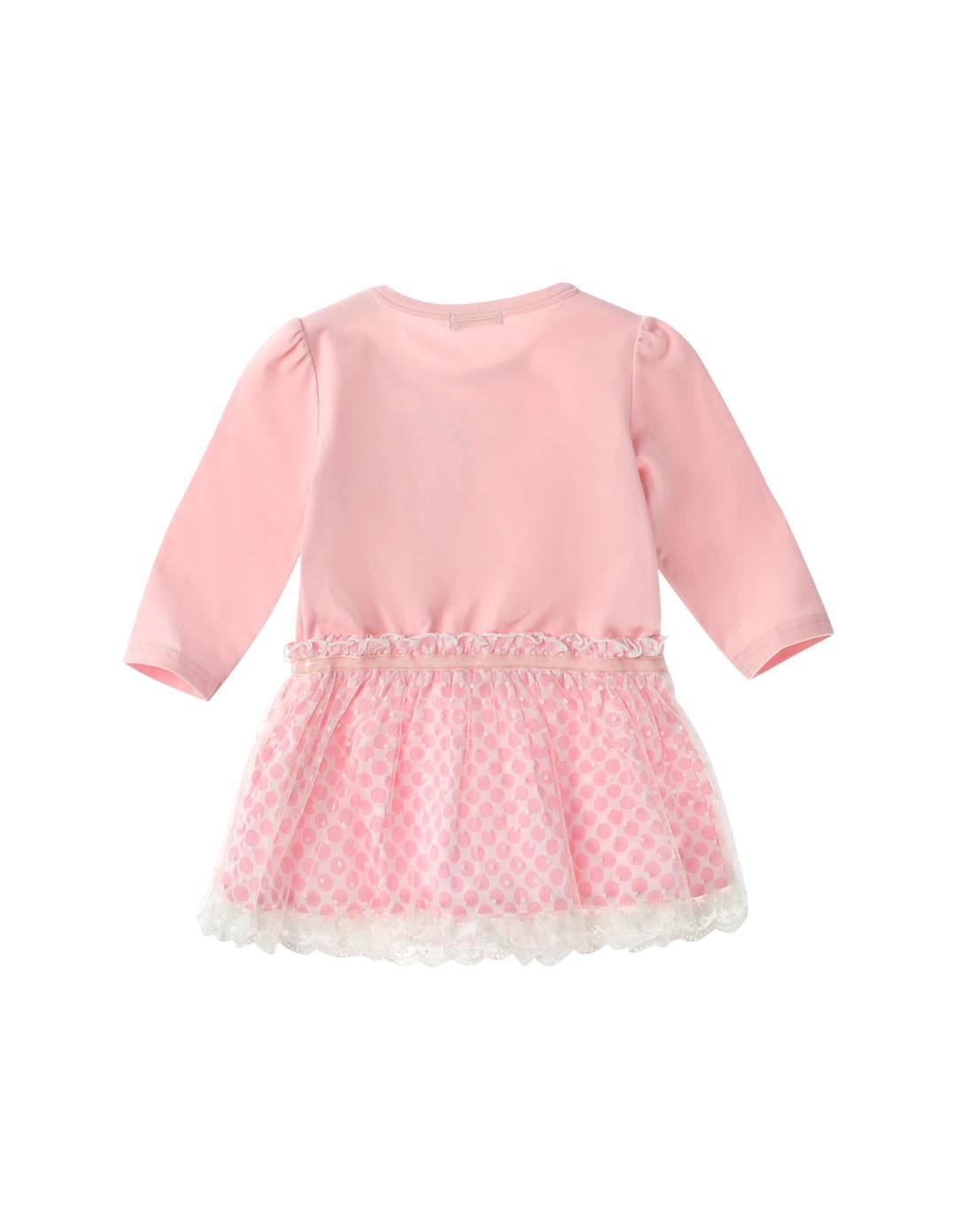 女童粉红色可爱长袖连衣裙