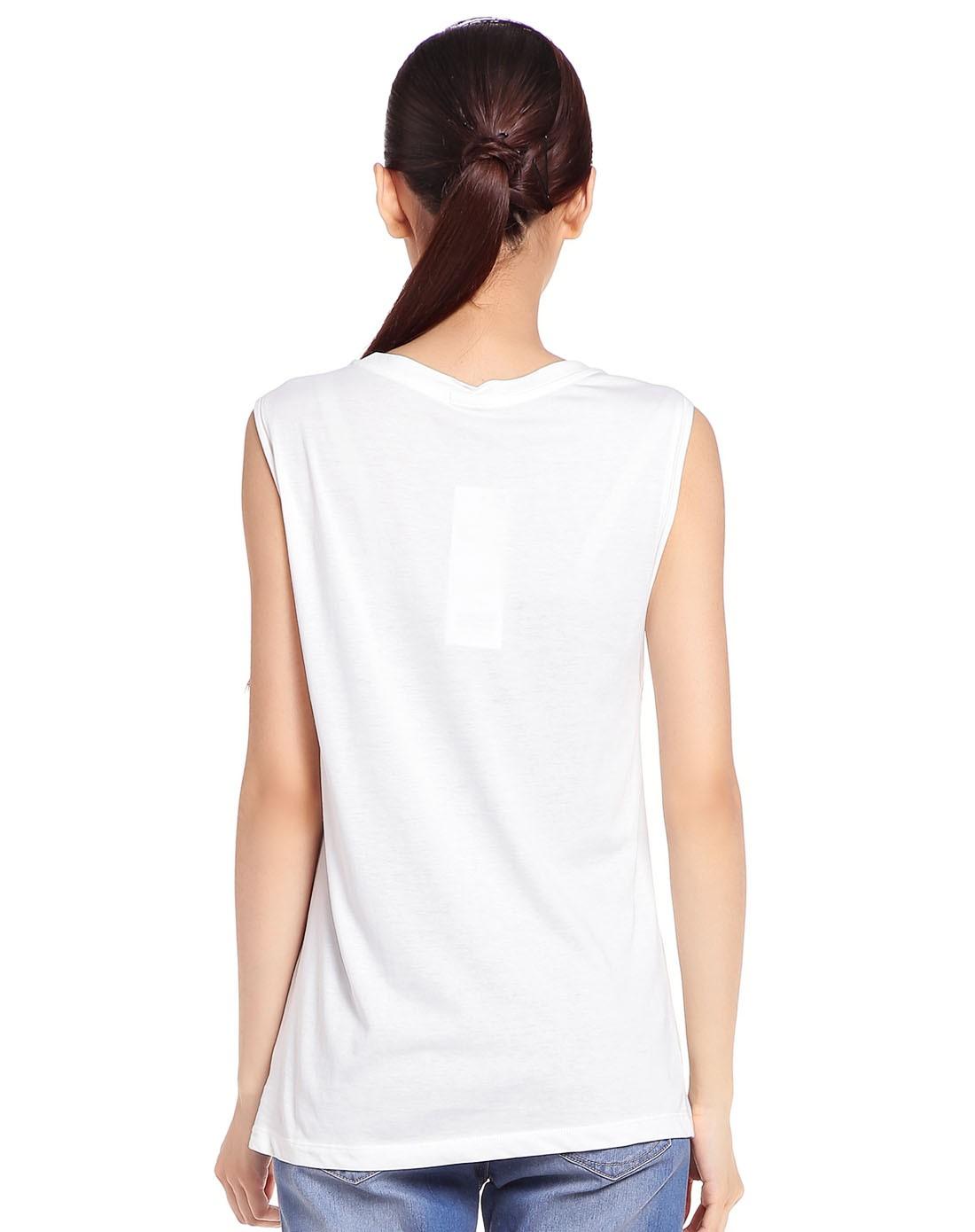白色动物印花无袖t恤