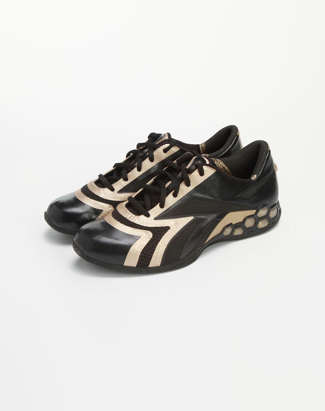 锐步reebok男女黑/金色休闲运动鞋875252