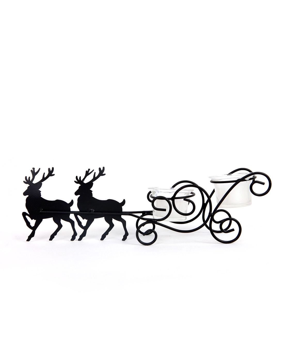 北欧麋鹿雪橇车铁艺灌蜡烛台摆件-两只