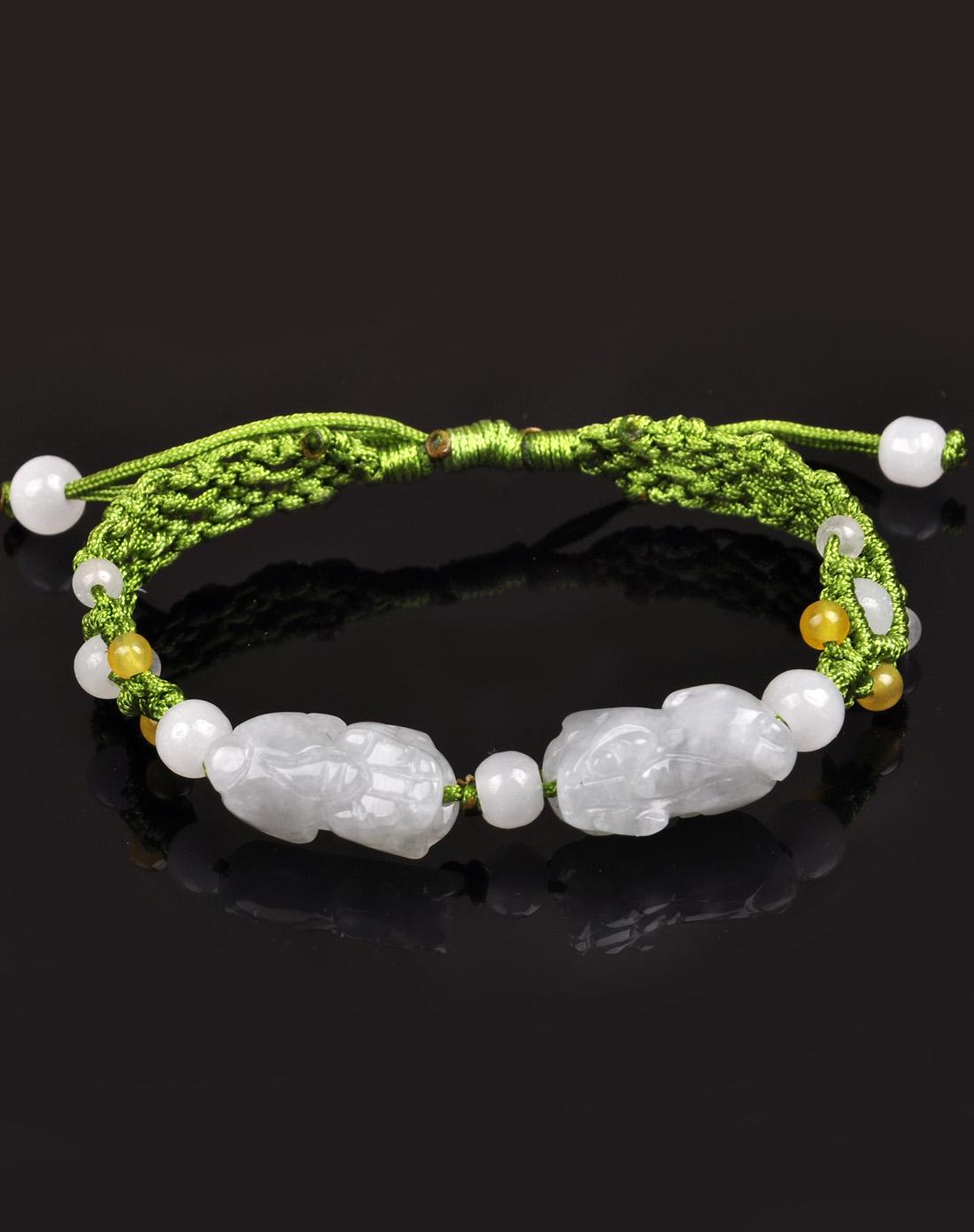 天然a货翡翠貔貅手工编织手链