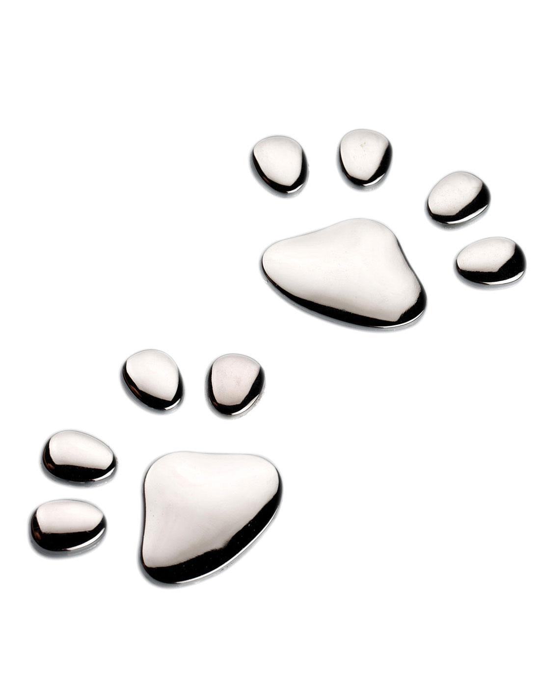 电镀立体金属车标装饰贴动物脚印