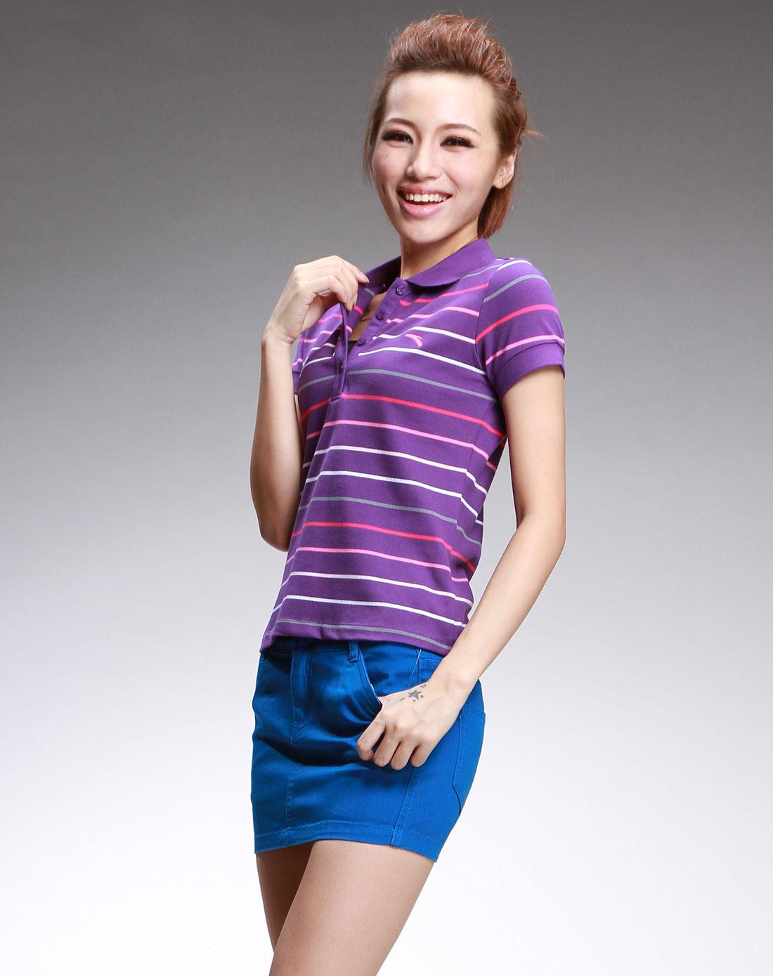 女款 深紫色休闲短袖polo衫