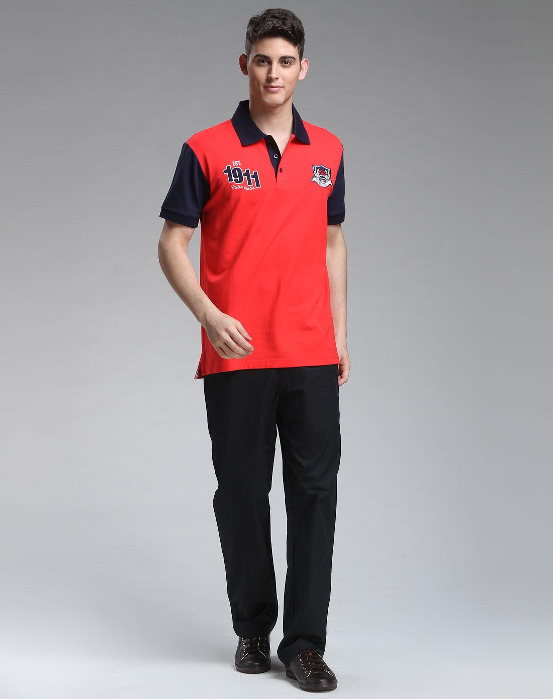 男款红色简约短袖polo衫