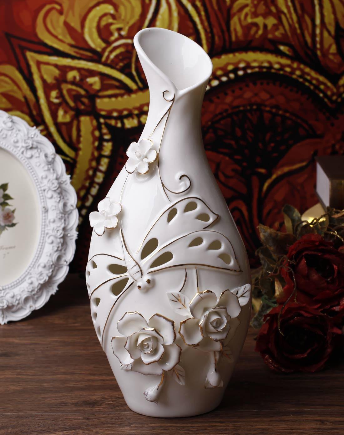 时尚欧式镂空雕花描金系列花瓶-d