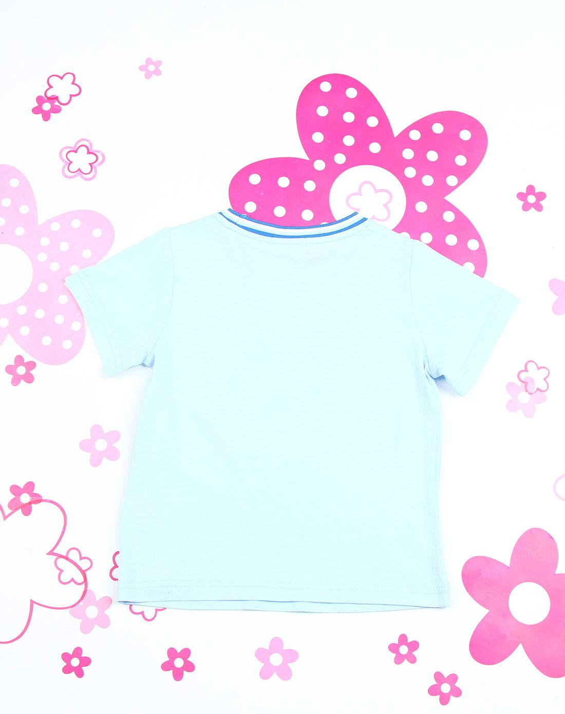 hello kitty童装专场-cinnamoroll 男童粉蓝色时尚印图圆领短袖休闲服