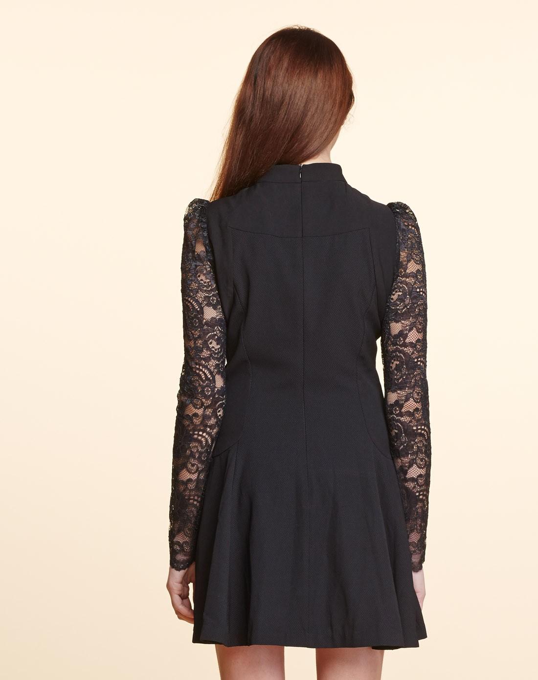 长袖黑色连衣裙图片