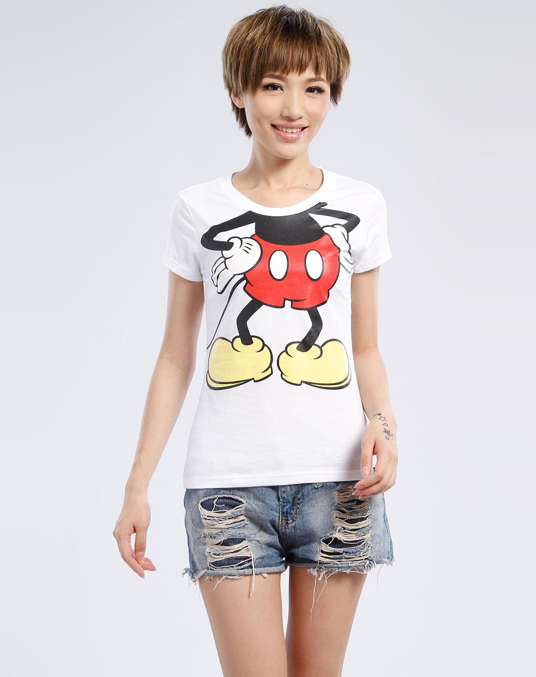 迪士尼disney米奇服装白色卡通图案短袖t恤ha_唯品