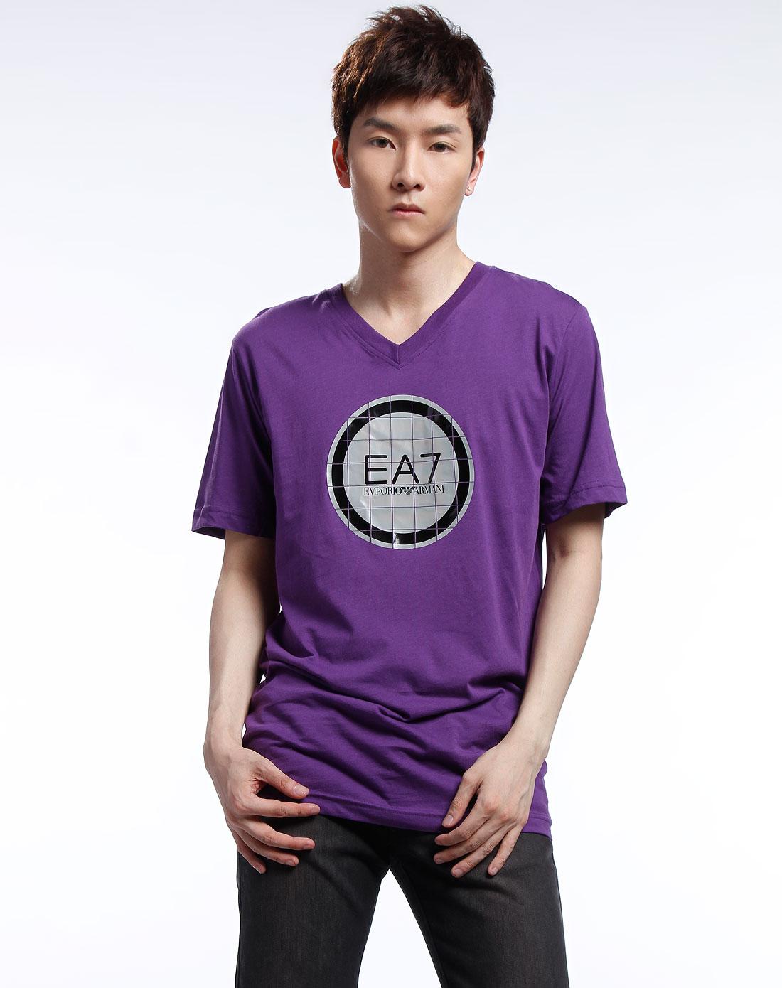 ea7男款紫色图案短袖t恤