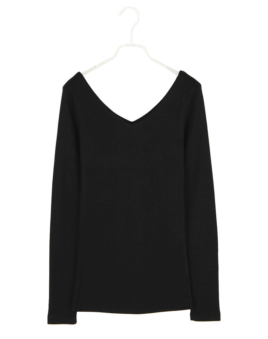 女黑色纯色长袖打底t恤