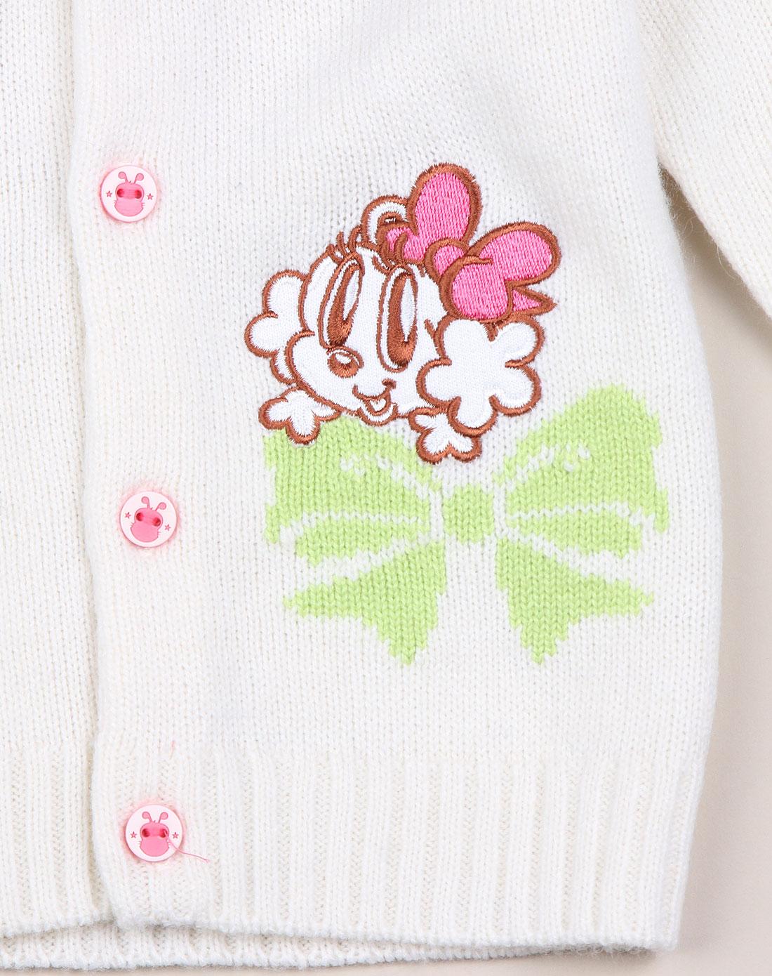 女童米白粉色蝴蝶结绣花长袖毛衣