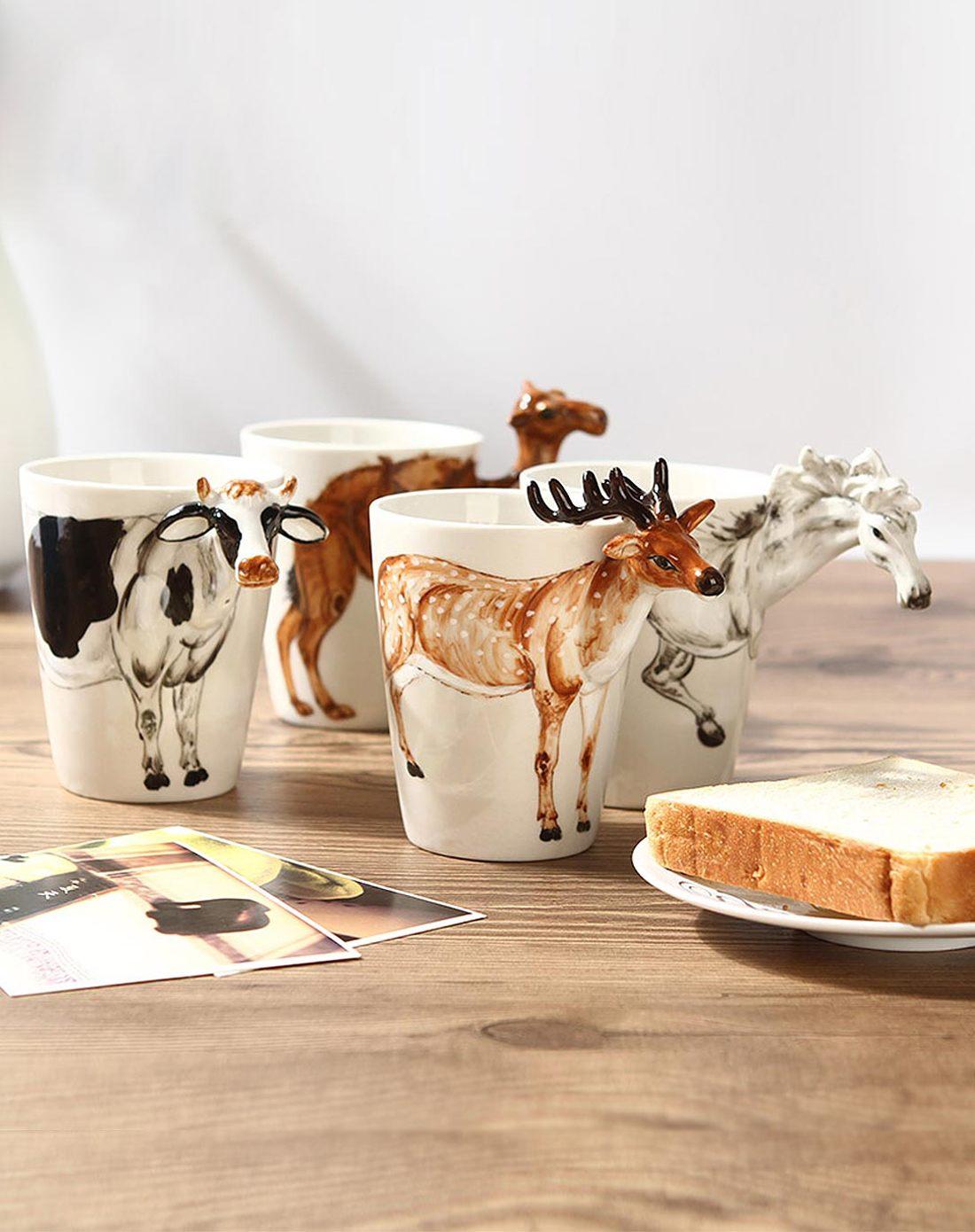 (奶牛款)3d立体纯手绘动物杯