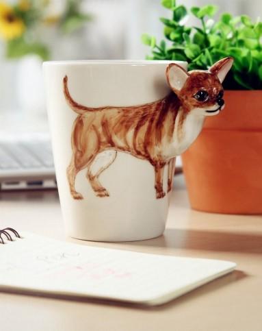(吉娃娃)纯手绘陶瓷动物杯