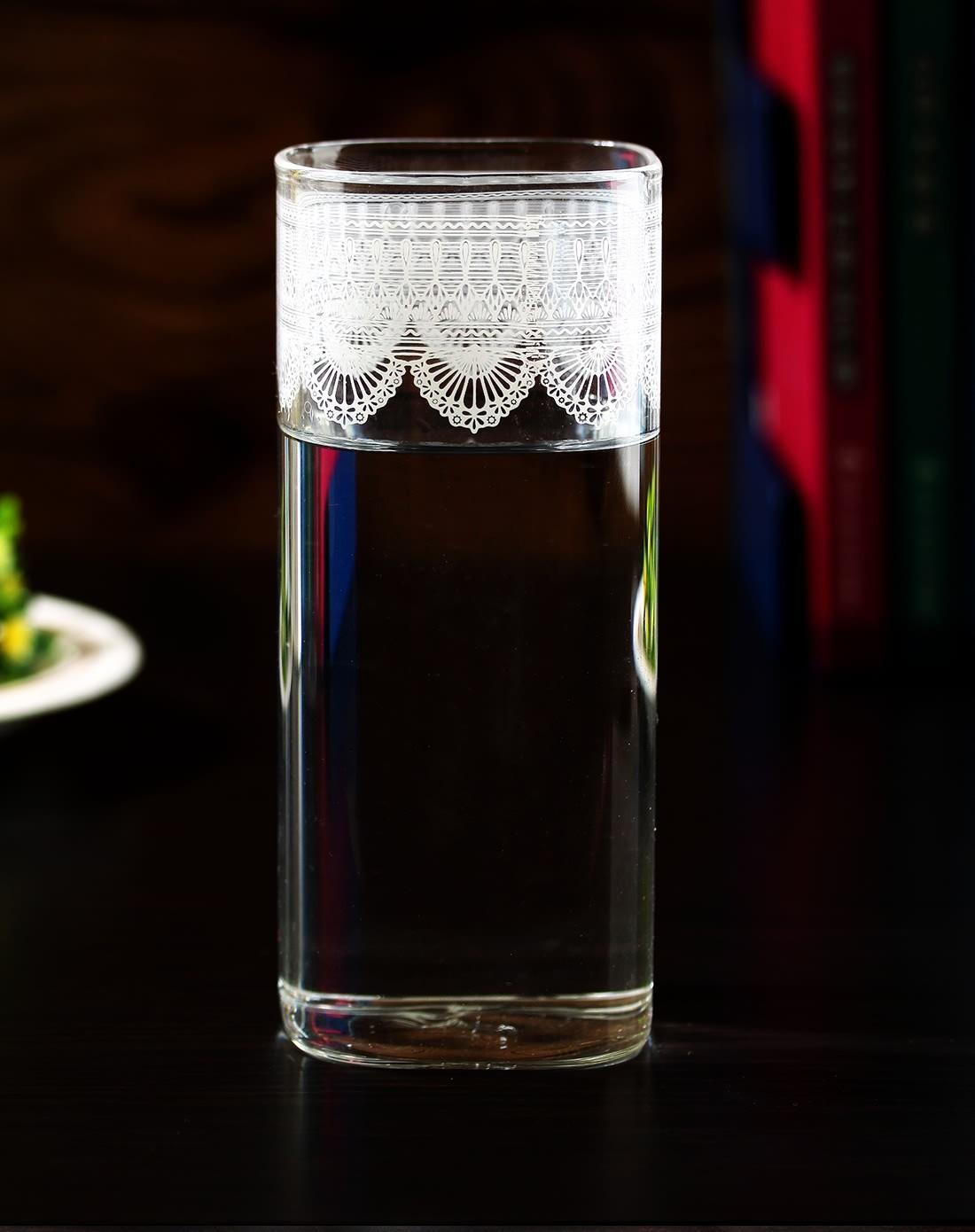 趣玩创意(多款)蕾丝花纹方形玻璃杯h46589