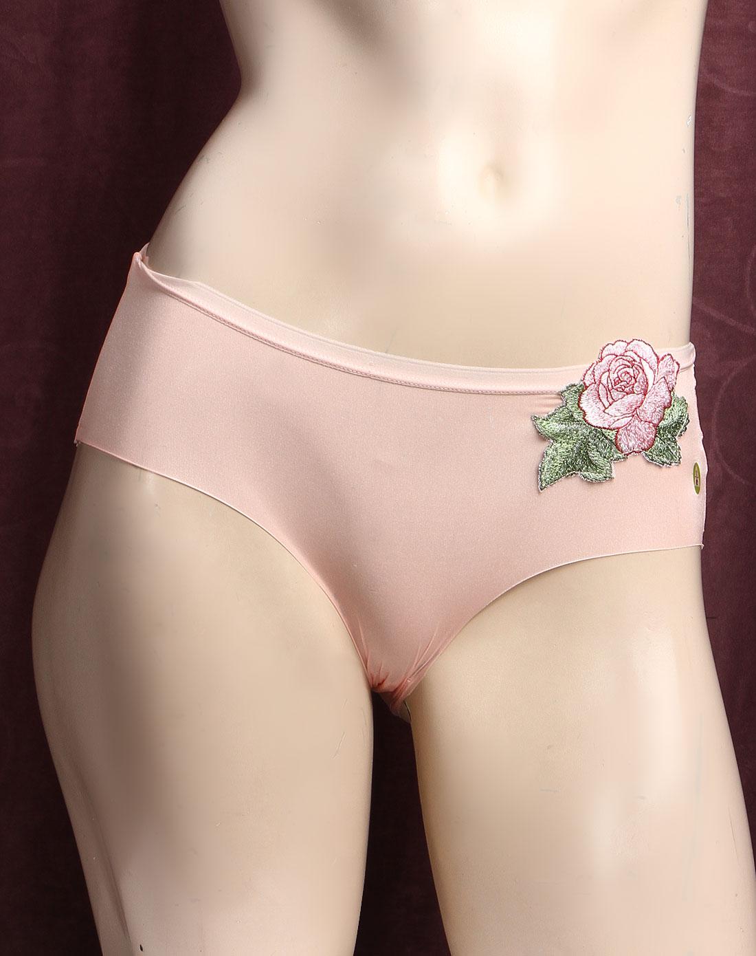 依蕾斯yileisi内衣专场粉色玫瑰花纹三角内裤66008