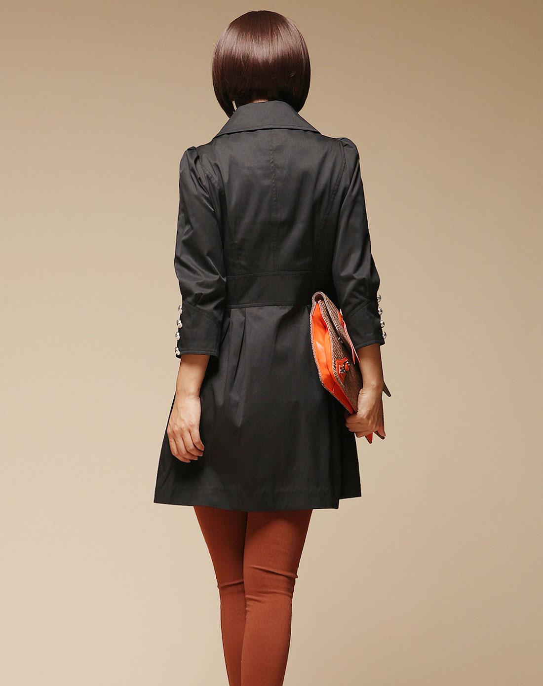 黑色女裝長袖風衣圖片