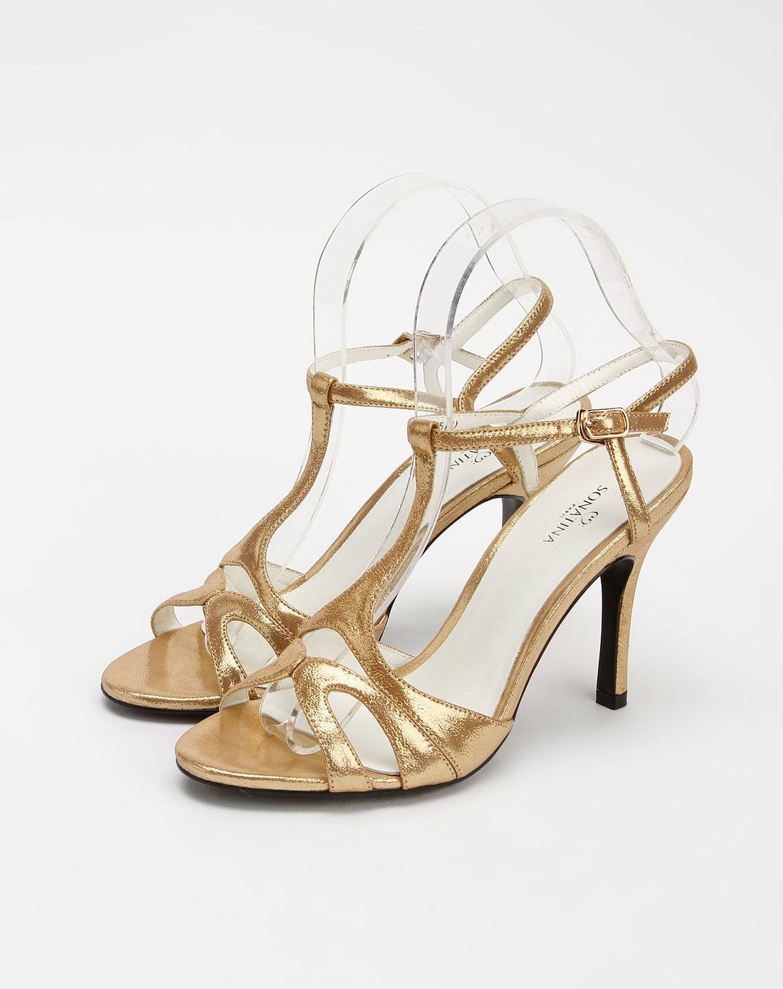 女款金色时尚大方超高跟凉鞋