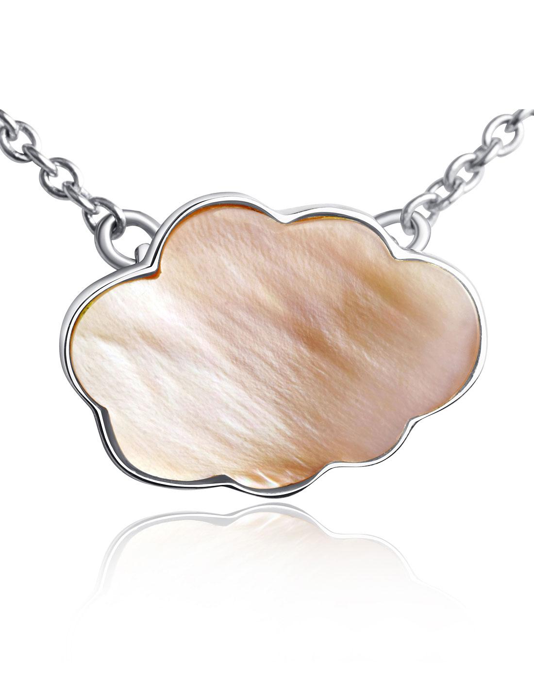 安妮时尚粉色天然珍珠母贝925纯银云朵项链yl110817p