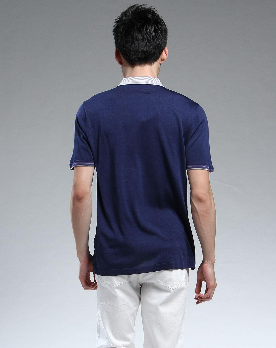 深蓝色简约短袖t恤